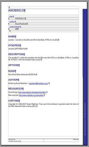 Screnshot of docbook2odt result in OpenOffice