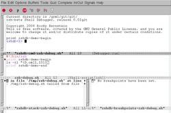 zshdb in emacs - screenshot